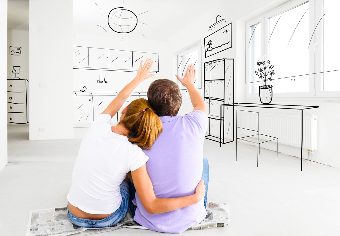 a couple designing their kitchen