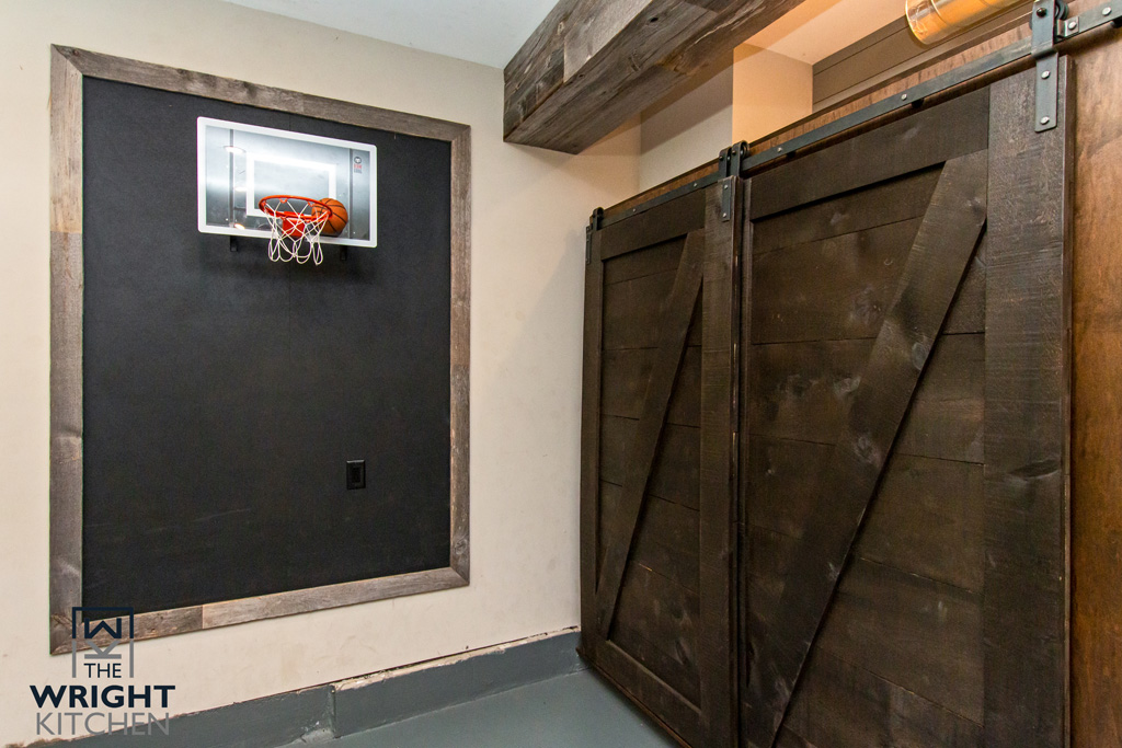 Wood accents in man cave