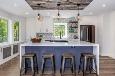 ModernKitchen with wood accents