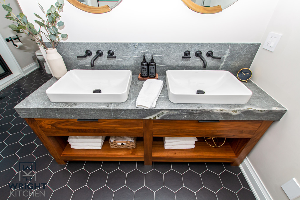 Traditional Wood Dual Bathroom Sinks