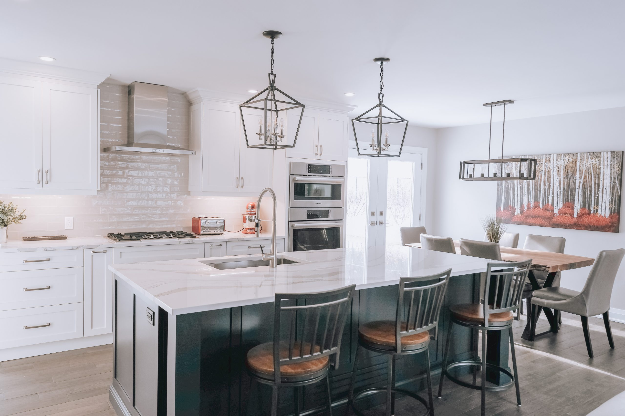 kitchen with red accent items